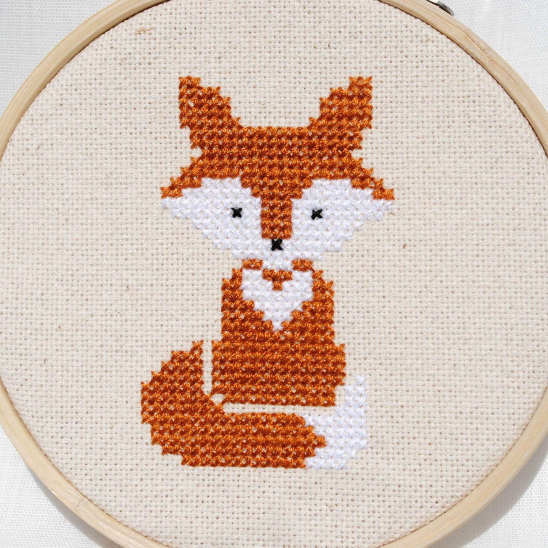Fox cross stitch pattern Baby nursery cross stitch design Woodland animal cross stitch Nursery embroidery hoop art Modern cross stitch PDF