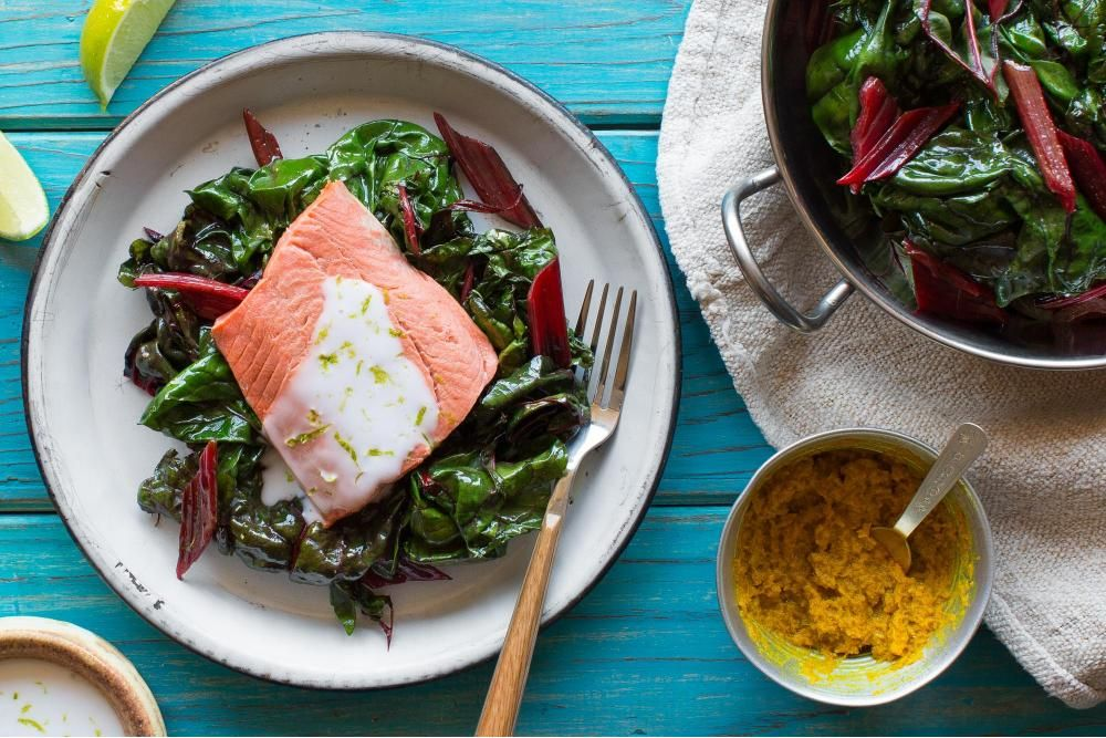 Southeast Asian Coconut Poached Salmon With Red Chard Recipe Salmon Recipes Poached Salmon