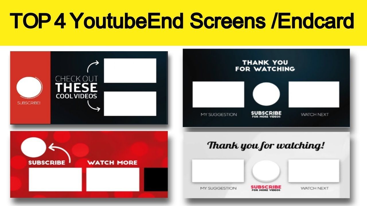 4 Top Youtube Video Outros End Screen End Card Template Free Downlo Card Template Youtube Videos Card Templates Free