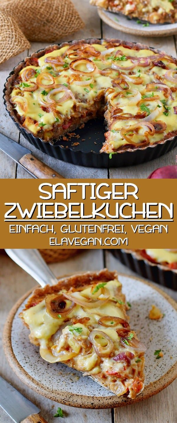 Saftiger veganer Zwiebelkuchen | gesund, sojafrei, glutenfrei - Elavegan