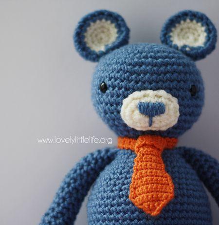 Free crochet pattern for this little teddy bear tie - free bear ...