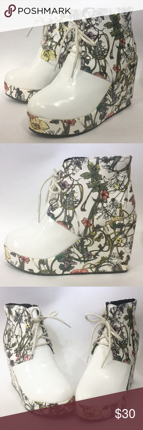 white floral platform ankle booties I love these shoes but sadly they are too small. Marked a euro size 40, but fits like a US size 7.5 - 8. Awesome and comfy platform detailed with a pretty floral motif and white faux patent leather. Laces in the front and zips on the inside for easy on and off. Never been worn! Tags: costume, Halloween, cosplay, Japanese, poison ivy, vegan Shoes Platforms