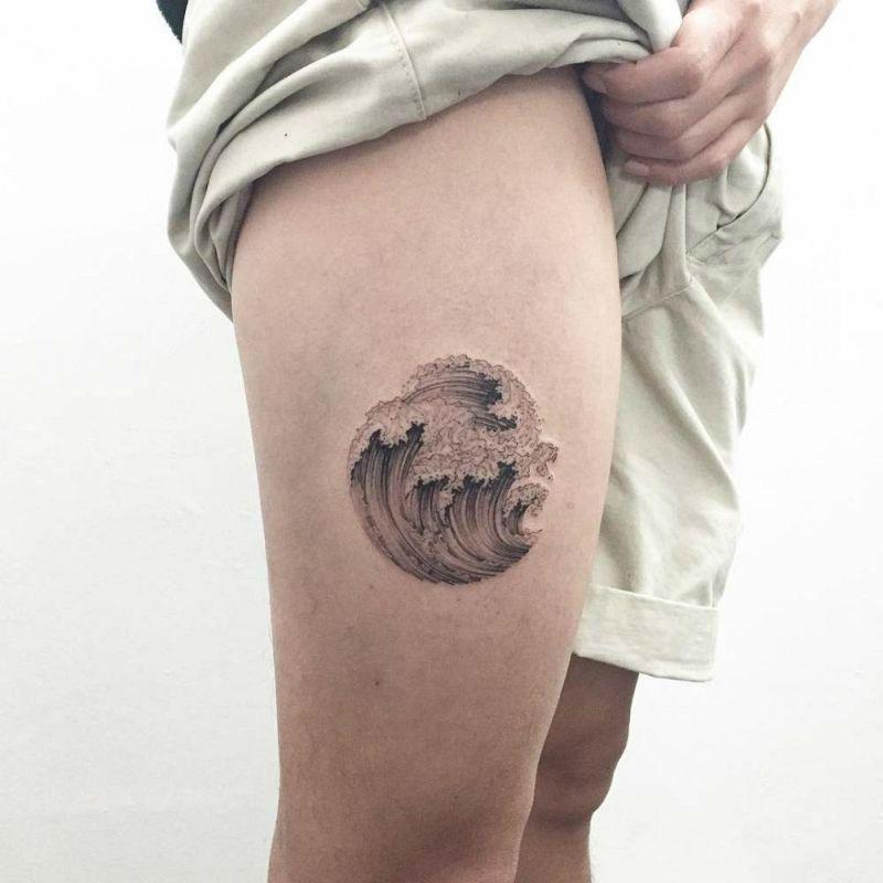 20 powerful wave tattoos tattoo tatting and 3d tattoos rh pinterest com Wave Heart Beat Tattoo 3D Carnation Tattoo