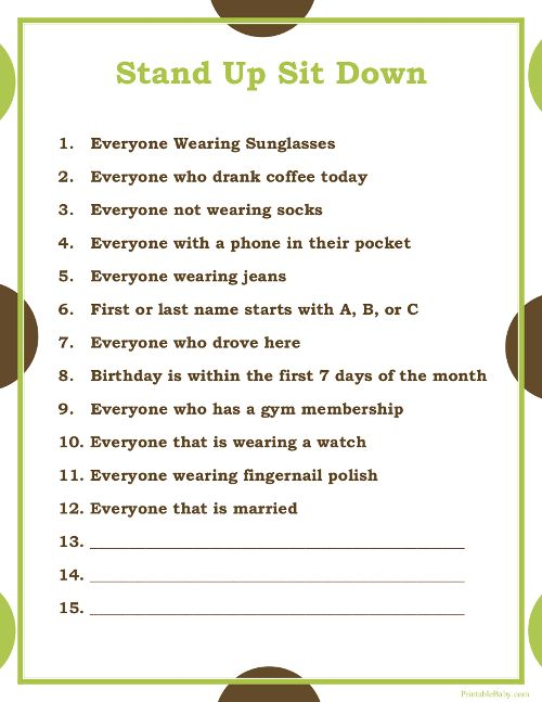 printable stand up sit down baby shower game