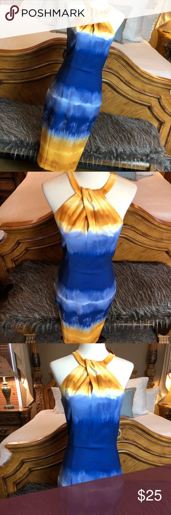 H M Tie Dye Blue Yellow Halter Dress Size 4 Halter Dress Blue Yellow Yellow Ties [ 1740 x 580 Pixel ]