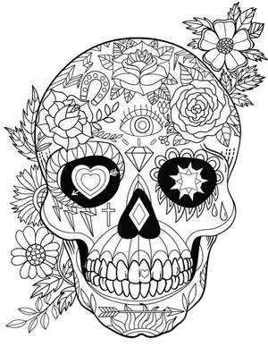 New Coloring Pages Feathers Mushrooms Sugar Skull Wolf And More
