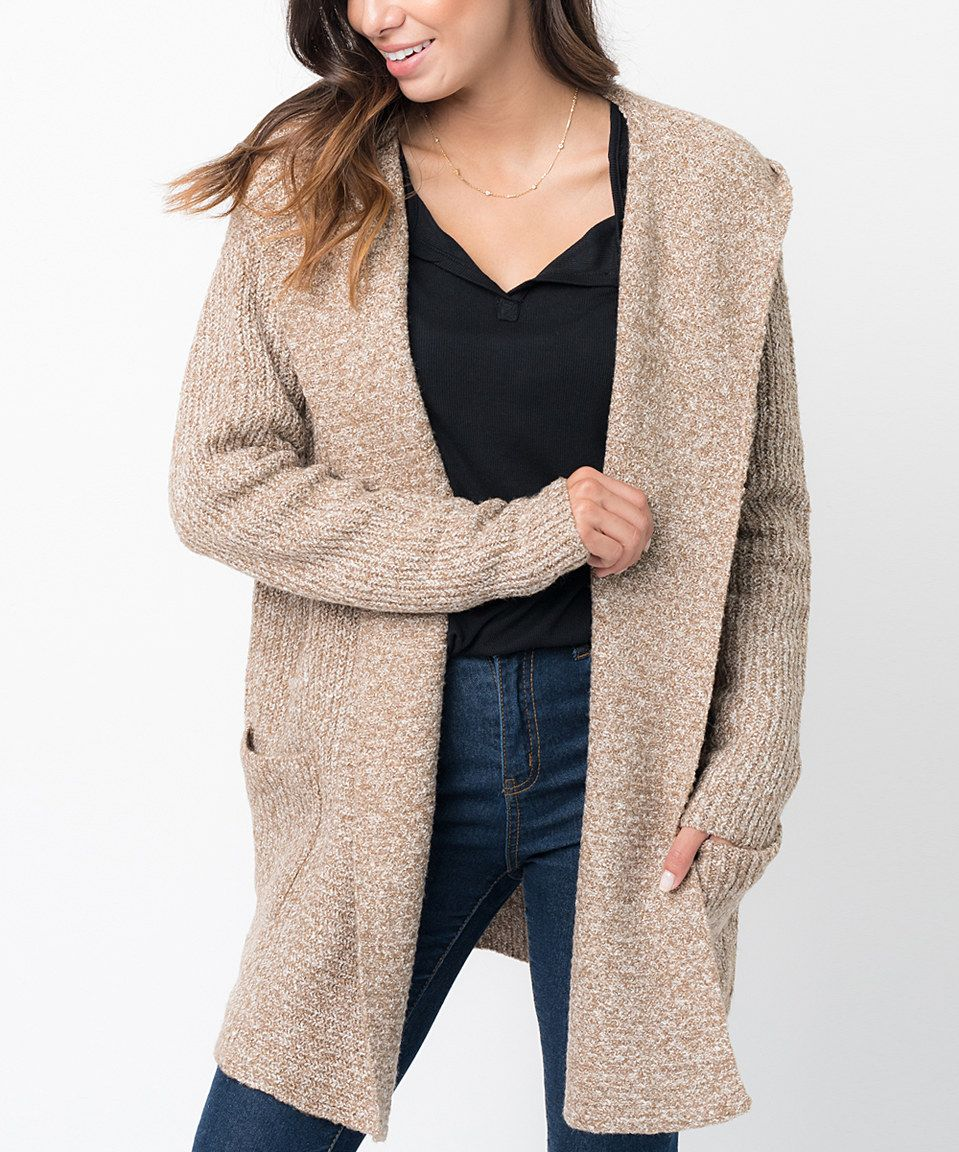 Look at this #zulilyfind! Caralase Oatmeal Lush Hooded Open Cardigan by Caralase #zulilyfinds