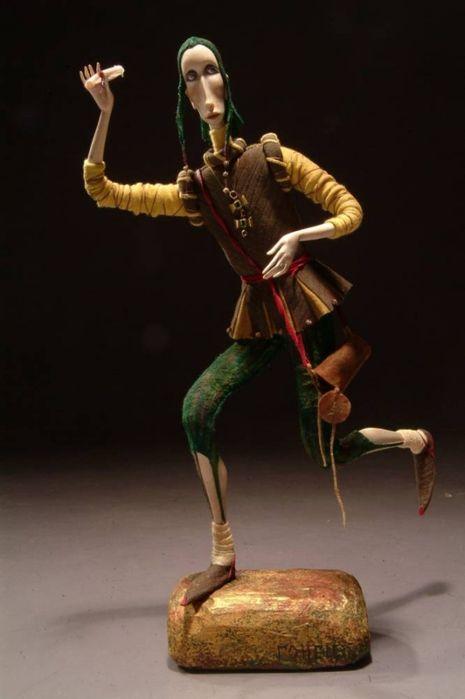 The Messenger. Wooden doll by Yulia Ralnikova