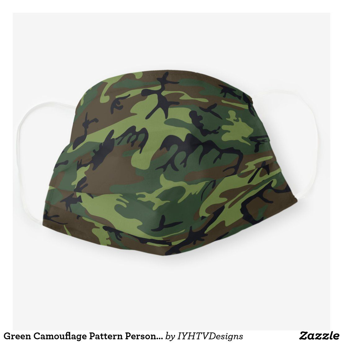 Green camouflage pattern personalized cloth face mask