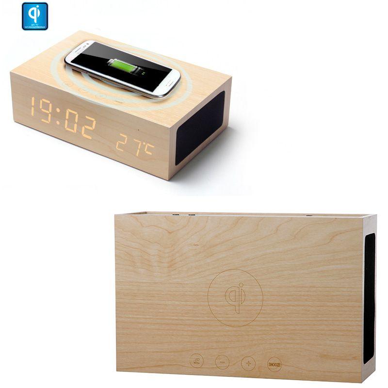 Wooden Qi Wireless Charger Transmitter Bluetooth Speaker Alarm Clock