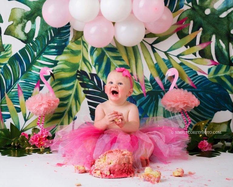 Flamingo Birthday Outfit Cake Smash Set Baby Girl Birthday Party First Birthday Girl Outfit Pink Flamingo