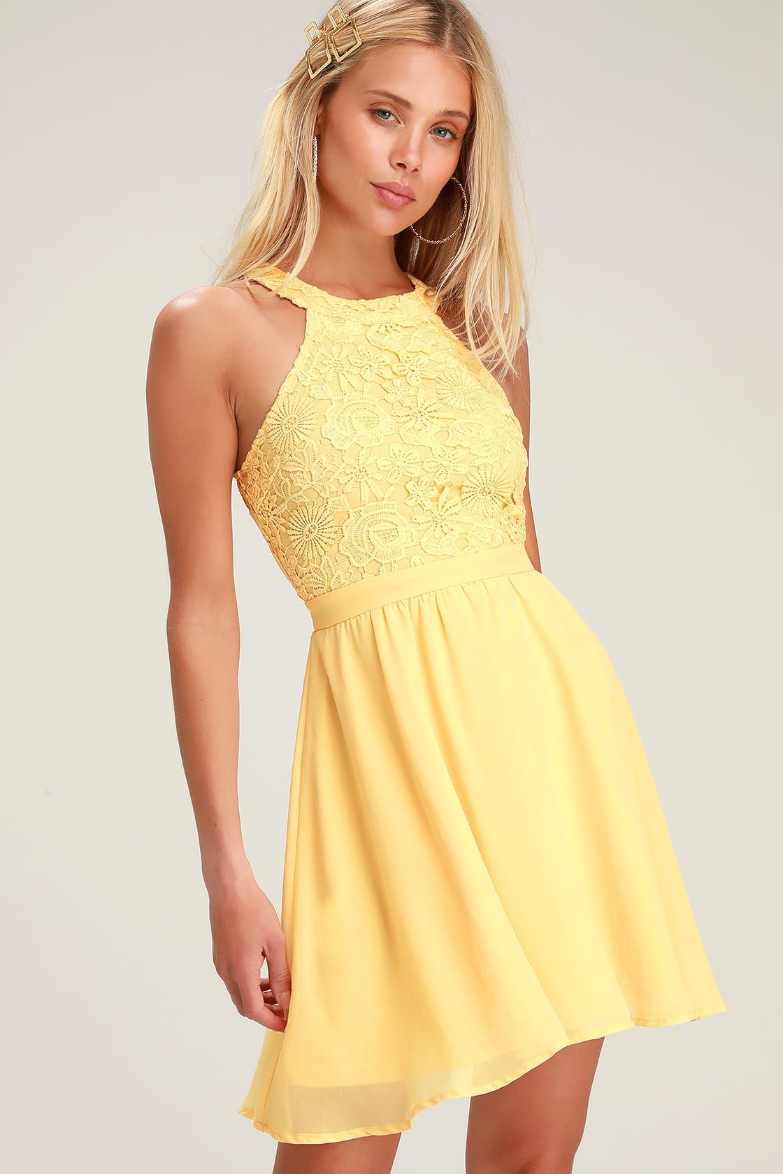 Lovers game light yellow lace skater dress lace skater