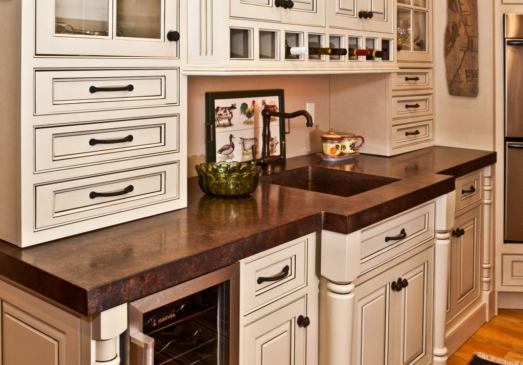 Custom antique copper counter by Focal Metals