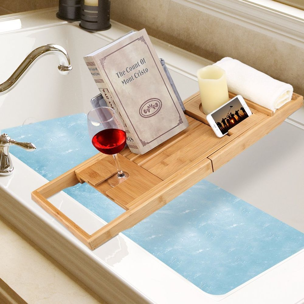 Bathtub Caddy Bamboo Tray Extending Sides Wineglass Smartphone Pad ...
