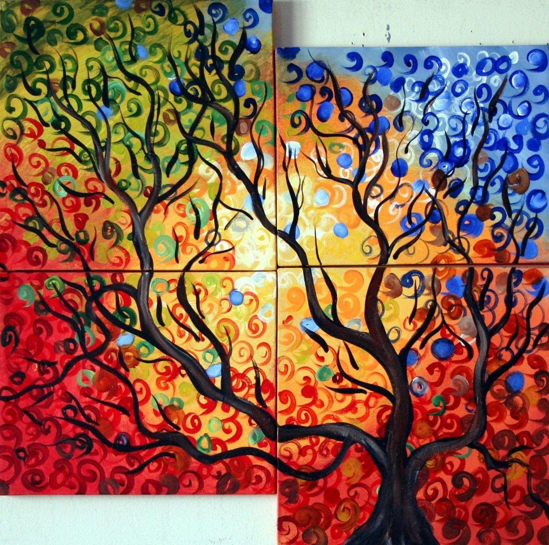 ceb0489e7d11c FOUR SEASONS -CUSTOM PAINTING-Multi Panel Canvas Artwork-Original ...
