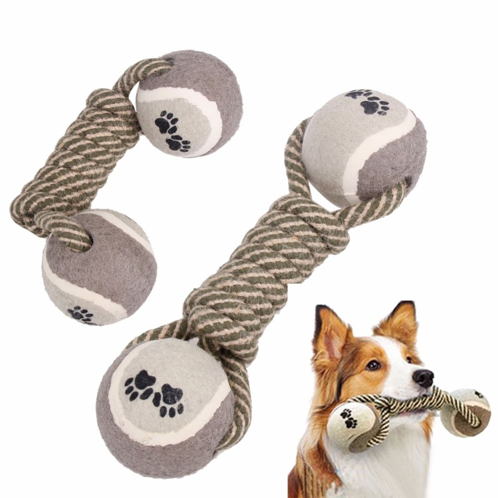 Funny Dog S Chew Toys Cotton Rope Dumbbell Tennis Pet Toy Puppy