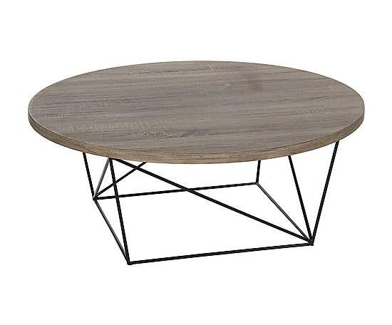 Tavolino in metallo e abete fir naturale/nero - d 90/h 35 cm