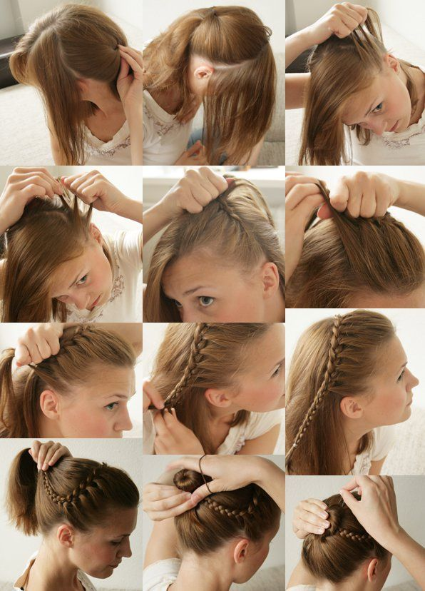 Do it yourself trendy braided hairstyle frisuren pinterest diy headband updo fashion diy long hair updo hairstyle bun diy ideas diy hair diy fashion braided bun diy updo hair tutorials easy hairstyles easy day by solutioingenieria Images