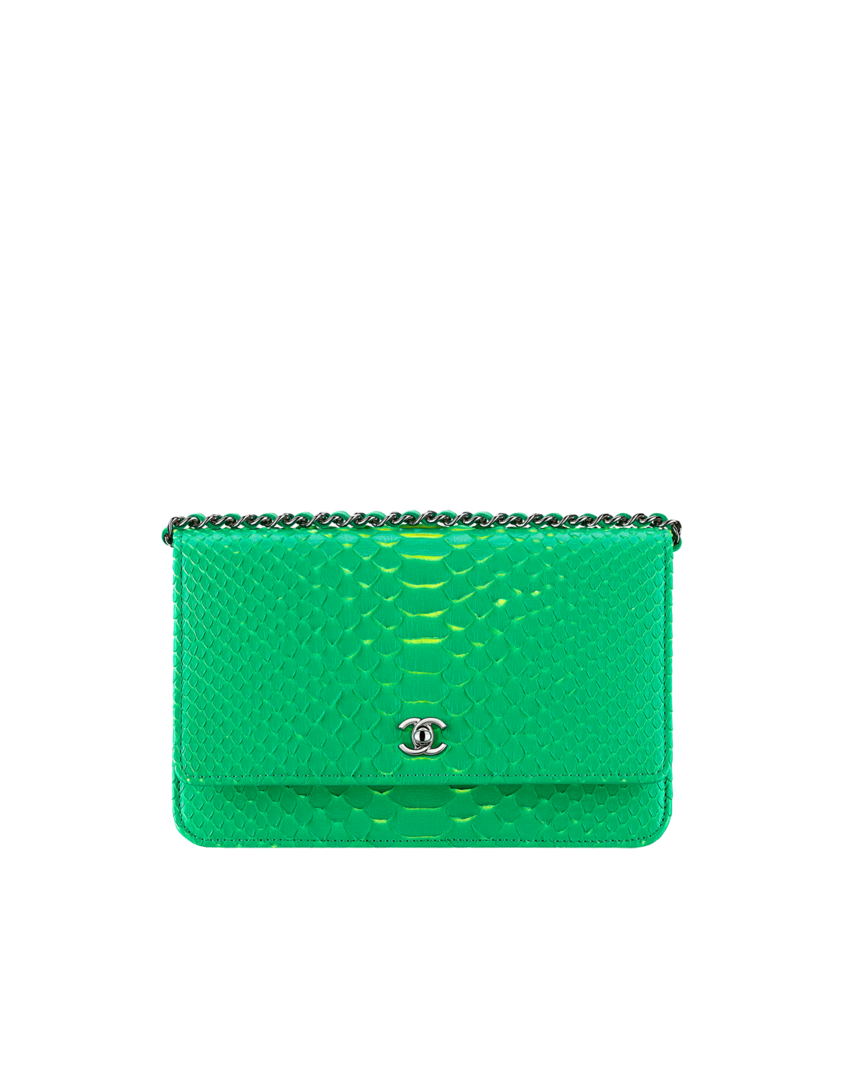 Pochette avec chaîne Classique, python   métal argenté-vert   jaune - CHANEL e906cea16a2