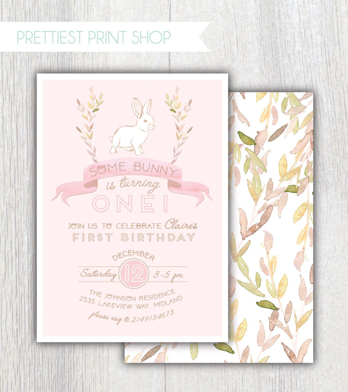 Printable Bunny birthday invitation Some bunny is turning one