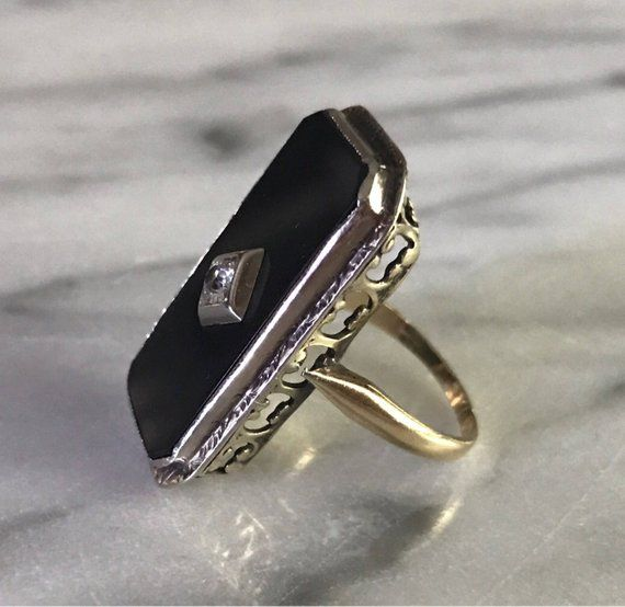 Vintage Art Deco Elongated Black Onyx And Diamond Ring 10 Etsy Modern Jewelry Art Deco Ring Vintage Art Deco