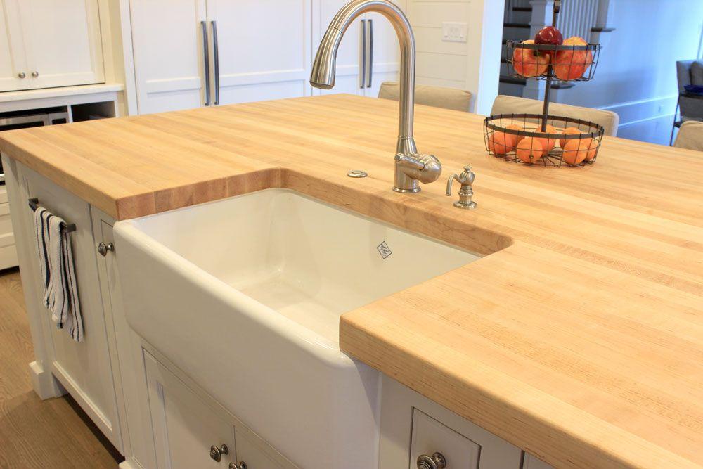 Hard Maple Butcher Block Island Top With Farmhouse Sink