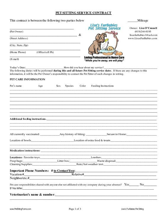 Pet Sitting Contract Templates  Kennel    Pet Sitting