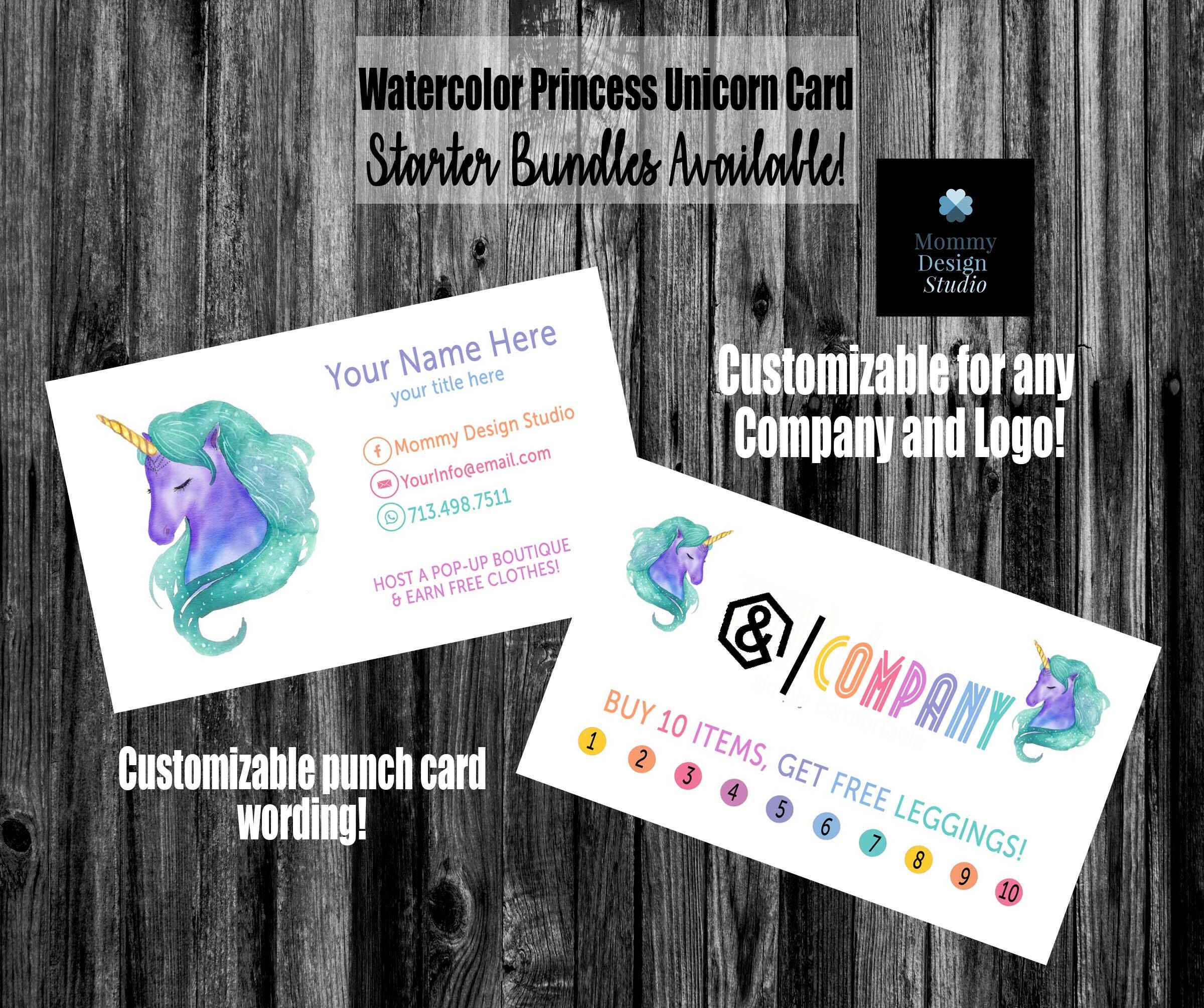 Watercolor UNICORN Princess Business Punch Card - HO APPROVED Fonts ...