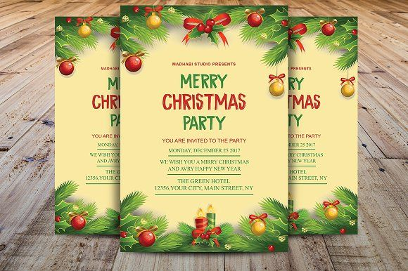 Christmas Invitation Template By Madhabi Studio On Creativemarket