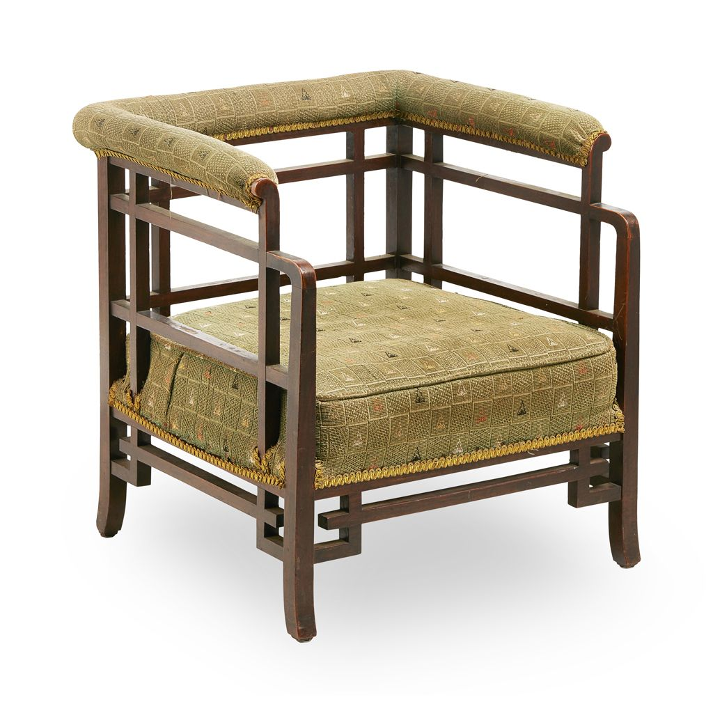 MANNER OF EDWARD WILLIAM GODWIN AESTHETIC MOVEMENT LOW CHAIR, CIRCA 1880