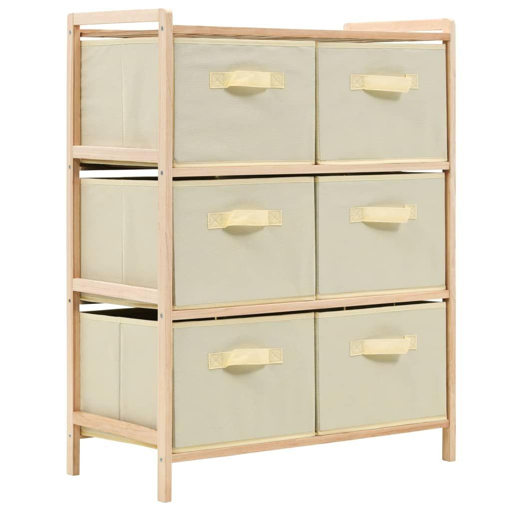 ZUN Storage Rack with 6 Fabric Baskets Cedar Wood Beige 246439