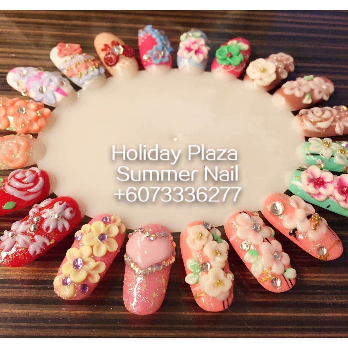 3D nail art design sample . Summer Nail, Holiday Plaza (McDonald's upstairs 3rd floor)  ☎️+6073336277 WhatsApp +60127242222 Instagram summernail_hp FaceBook Summer Nail Professional Nail Care