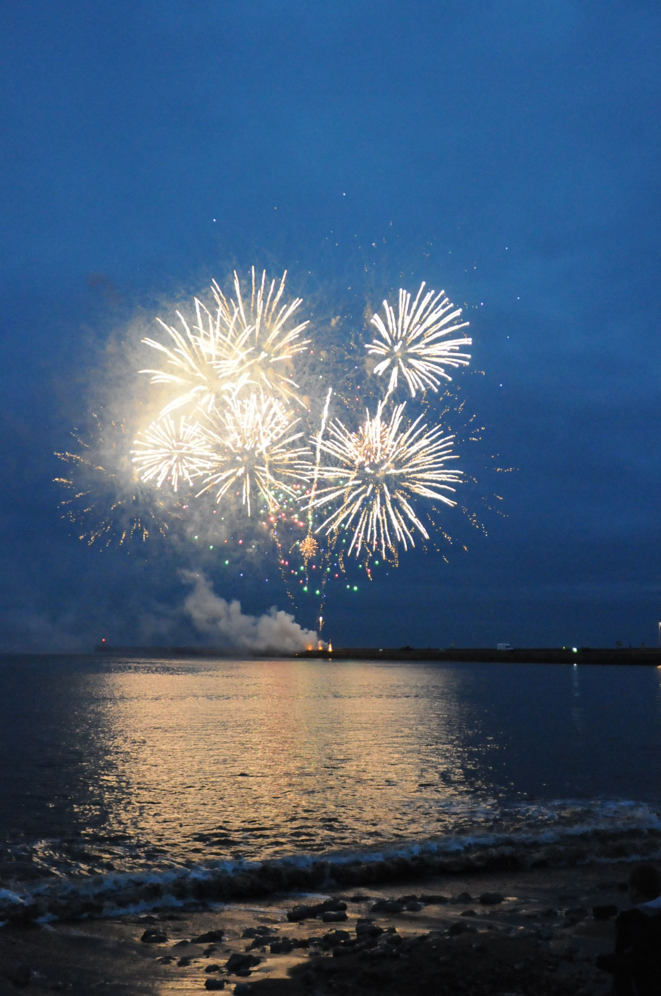 Fireworks over the Sea to celebrate the opening of Littlehaven Promenade and Sea Wall.