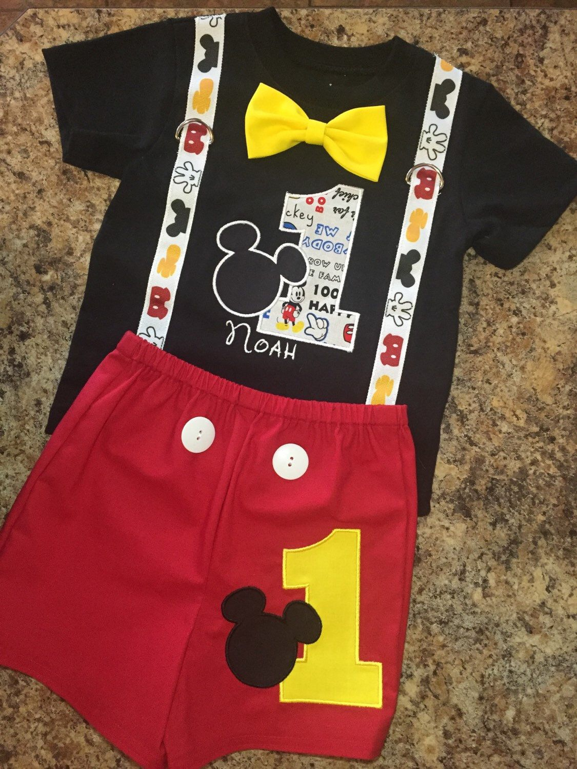 Birthday Mickey Mouse Shirt (black) and Shorts outfit with suspenders, yellow bow tie, name, and number on shirt - Mickey/number on shorts
