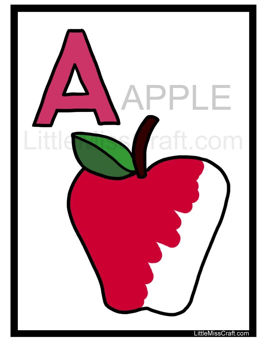 Apple Alphabet Coloring Page - fun + educational, trace the gray ...