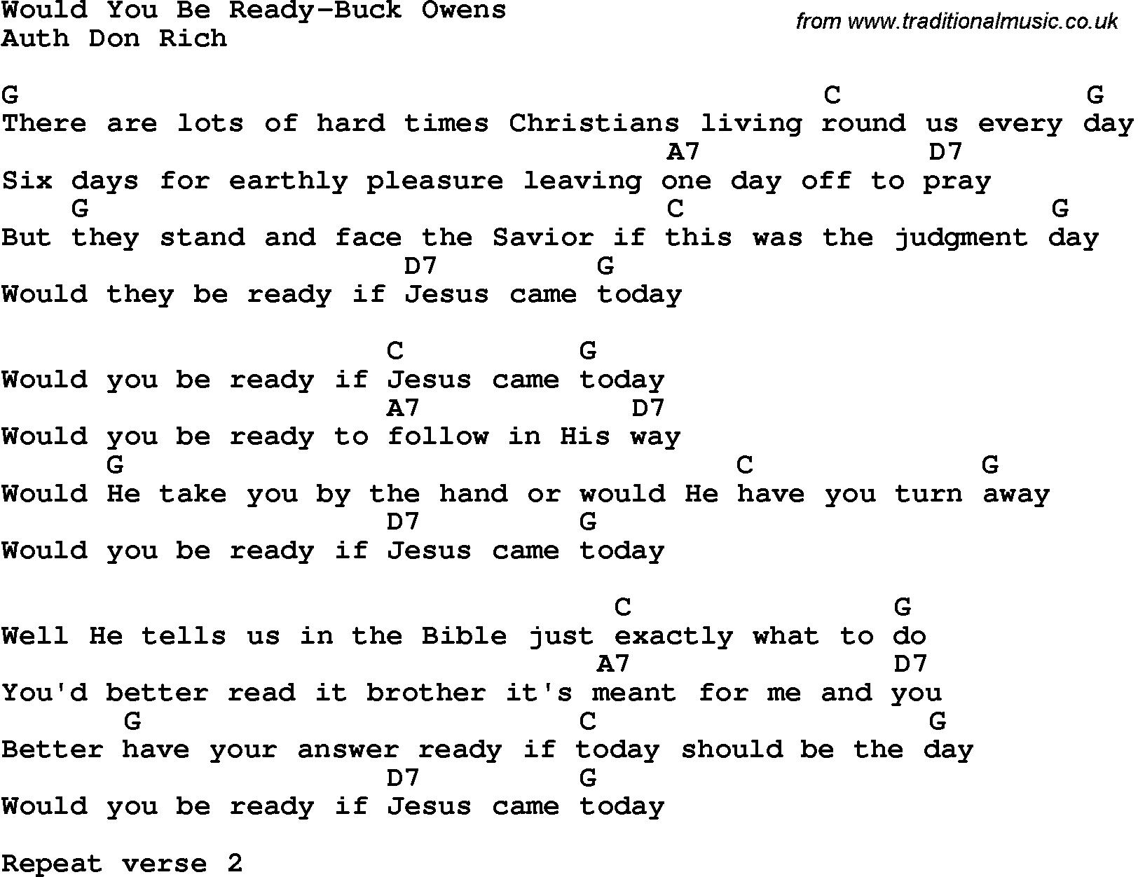 Buck Owens Song Lyrics Bluegrass Gospel Song Would You Be