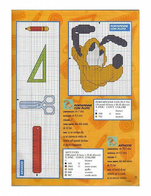 Schemi punto croce pluto righello matita squadretta for Schemi punto croce pluto