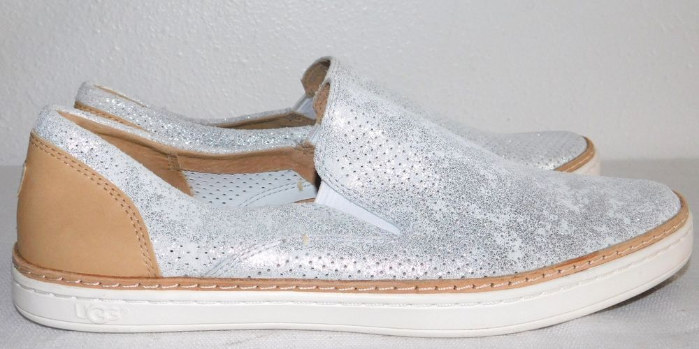 d129c7aef75 NEW NWOB WOMENS 9 SILVER UGG ADLEY PERF STARDUST SLIP-ON SUEDE ...