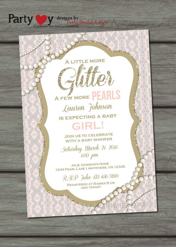 514cb5a9a70 Pearls and Lace Baby Shower Invitation by PartyInvitesAndMore