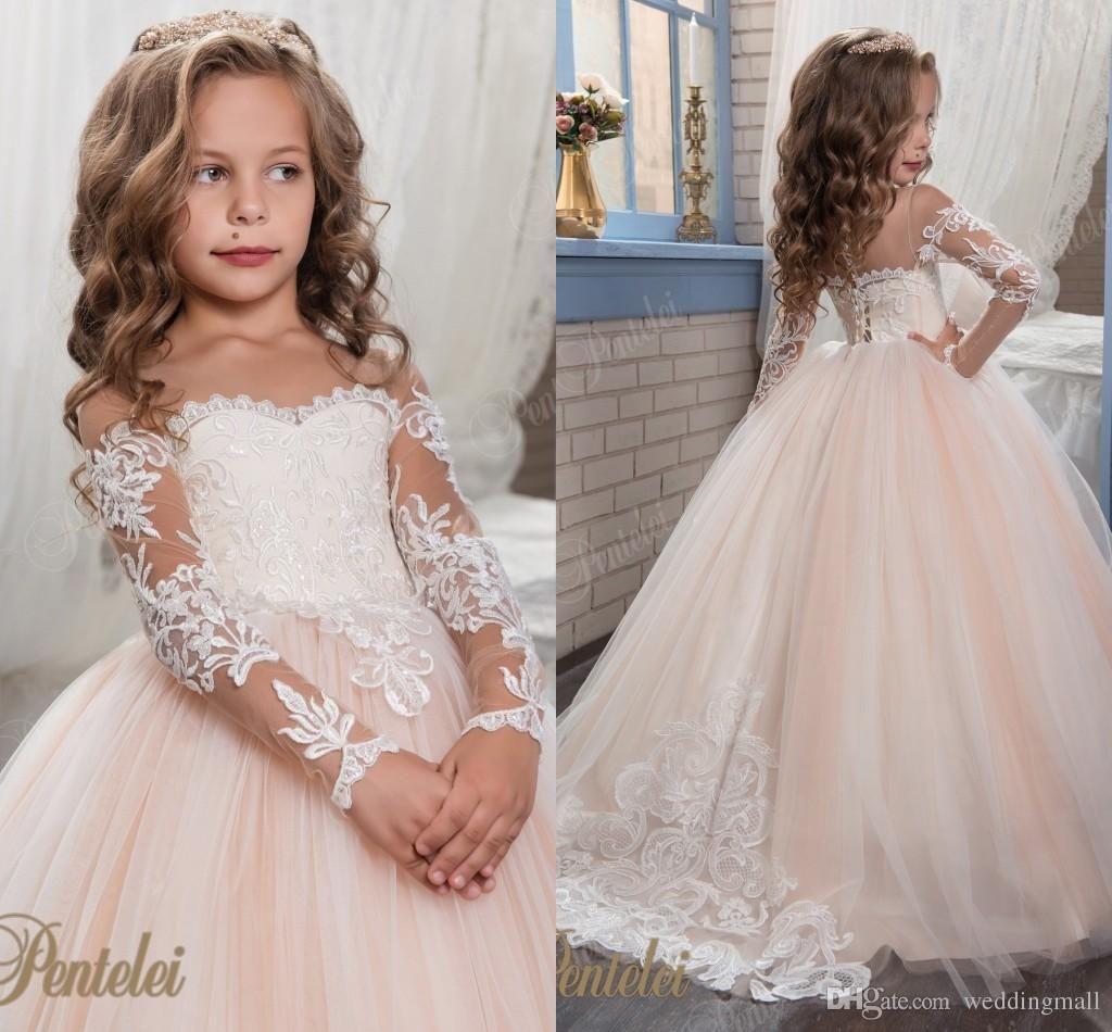 Princess Vintage Beaded Arabic 2017 Flower Girl Dresses Long