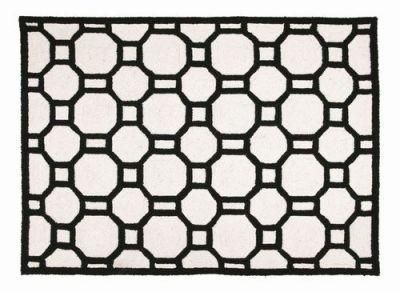 Chain Reaction Black White Graphic Rug Hand Hook Geometric