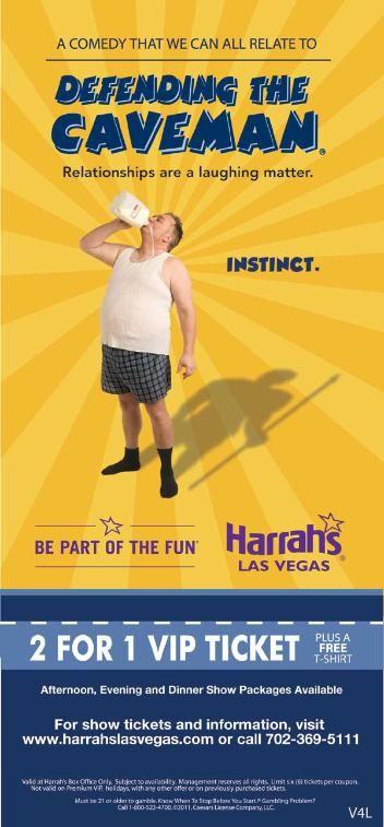 Defending the Caveman Show Coupon Harrah's Las Vegas Hotel
