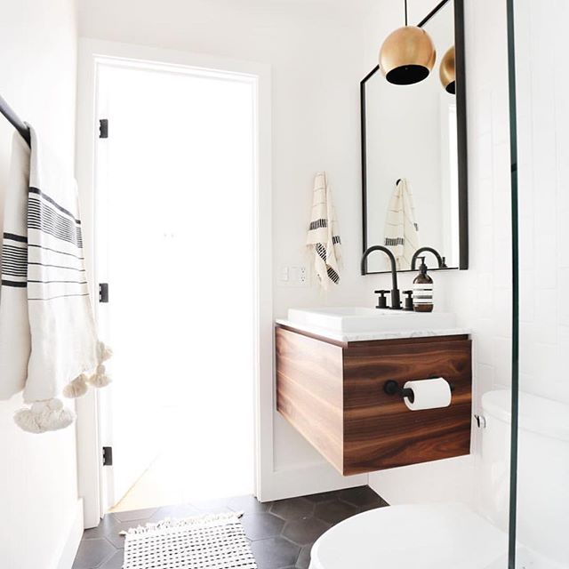 Mid century modern bathroom home sweet home - Mid century modern double bathroom vanity ...