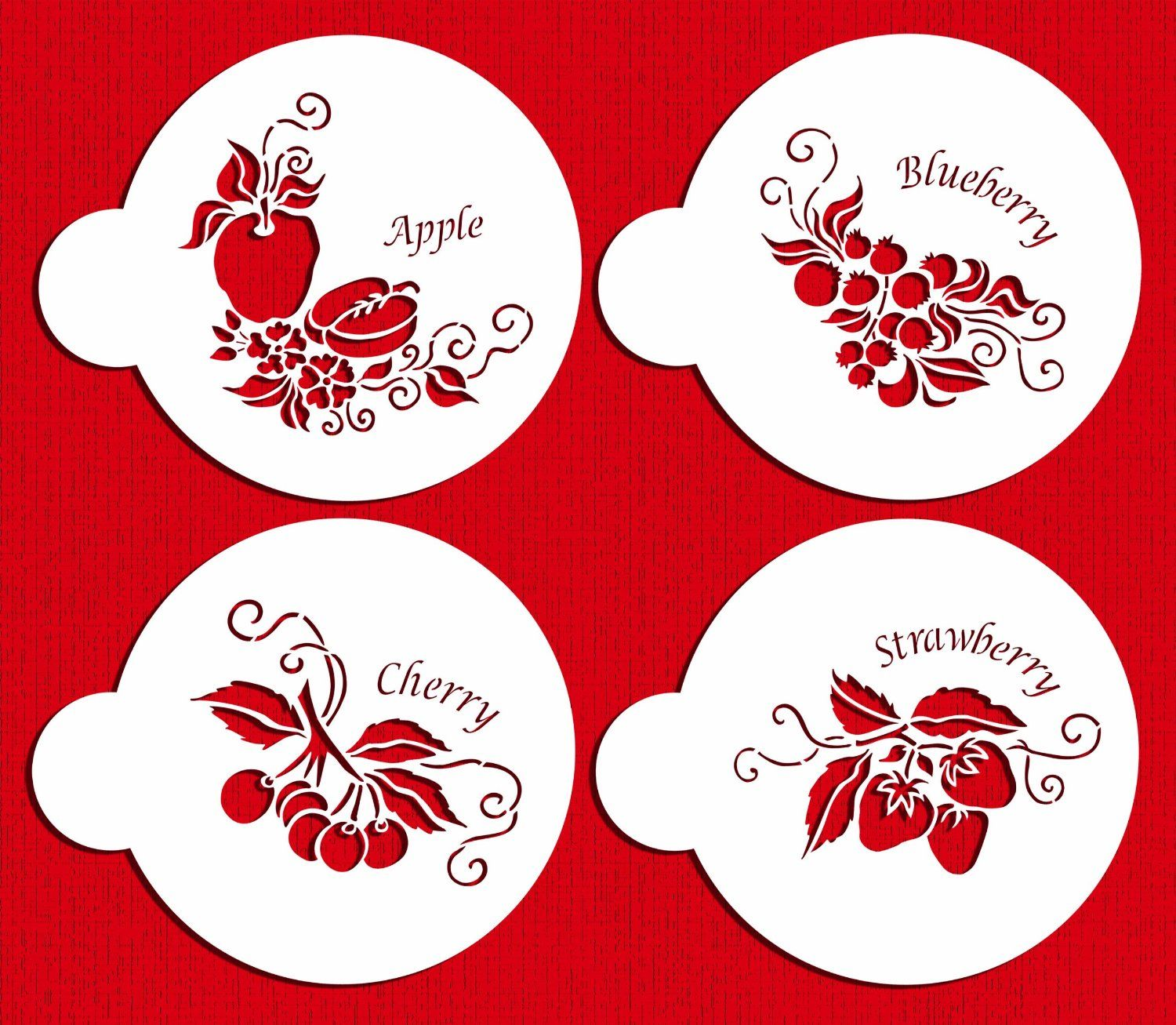 Amazon Fruit Toppers Cake Stencilsdesigner Stencils Home Alluring Kitchen Stencil Designs Inspiration