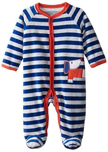 23738cd88 Offspring Baby Apparel BabyBoys Newborn Dog Velour Footie Blue ...