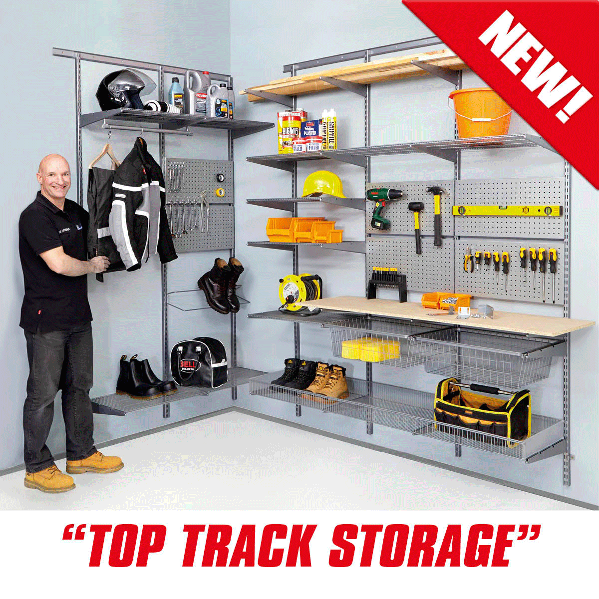 Top Track Wall Mounted Shelving Silver Components Storage Kits Wall Mounted Shelves Plastic Box Storage