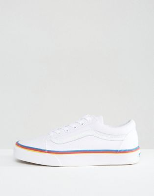 340b2aeb3689 Vans Classic Leather Old Skool Sneakers With Rainbow Trim