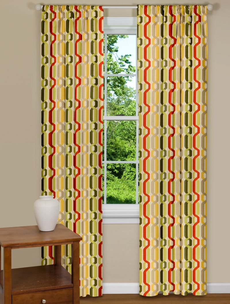 Trendy Window Curtain Panel With Twist Design In Yellow Red And Green