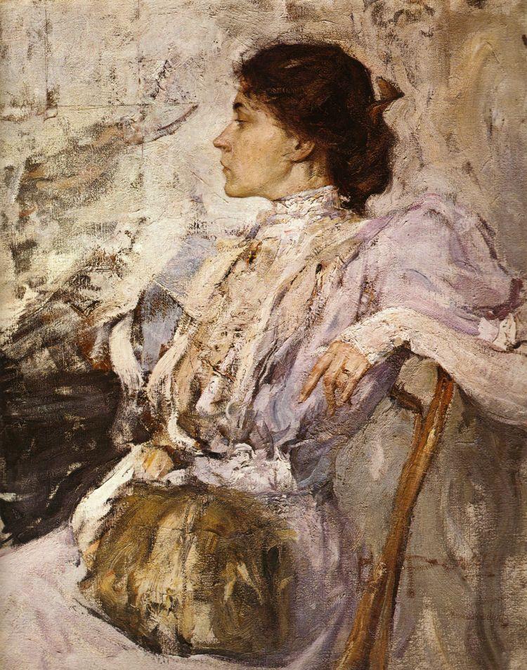 Nikolai Feshin Portrait Of A Woman 1908 Oil On Canvas The