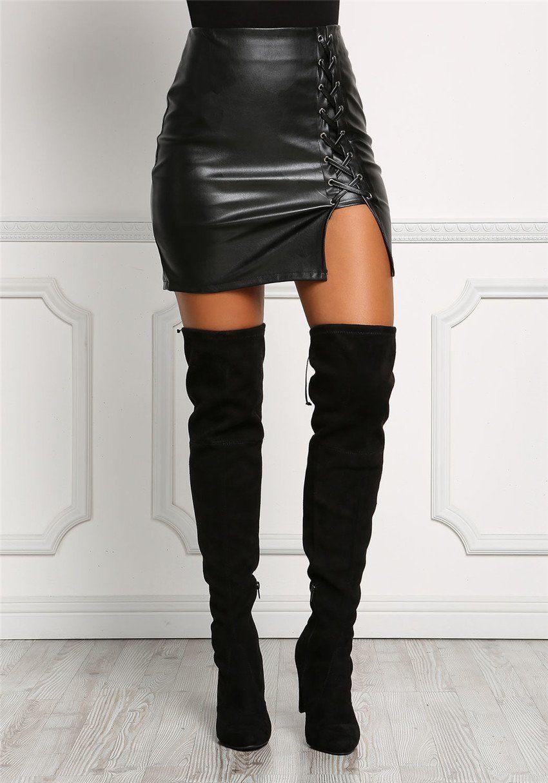 e9c2c0fdbf Women's Vintage PU Leather Bodycon Mini Skirt w/ Lace-Up Side Split Design